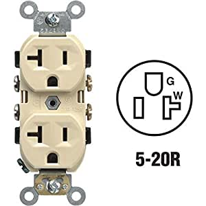 Leviton 5800-ISP 20-Amp, 125-Volt, 2-Pole, 3-Wire, Receptacle Duplex, Self-Grounding, Ivory by Leviton