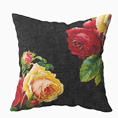 Musesh Vintage Bohemian Roses Design Cushions Case Throw Pillow Cover for Sofa Home Decorative Pillowslip Gift Ideas Household Pillowcase Zippered Pillow Covers 16X16Inch Black Floral Throw Pillow