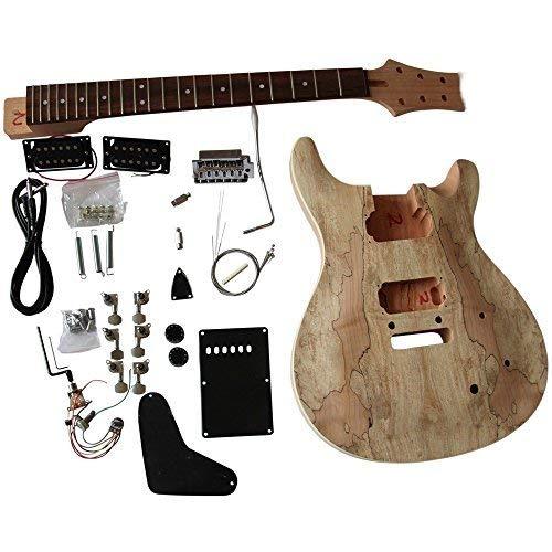 GD830 Mahogany body with Spalted Maple Veneer Top Electric Guitar DIY Kit SET-IN Coban Guitars