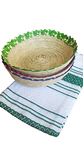 Mexican Baskets For Party Home & Kitchen 3Pack Centerpieces & 1 Handloomed Tortilla Cloth Warmer Keeper. 100% Palm Unique Mexican Art Perfect for Bread, Snacks, Pancakes, Chips, Guacamole & Candy. by Jacq & Jürgen