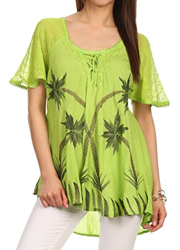 Sakkas 783 - Albina Island Relaxed Fit Embroidery Cap Sleeves Blouse/Top - Apple Green - OS