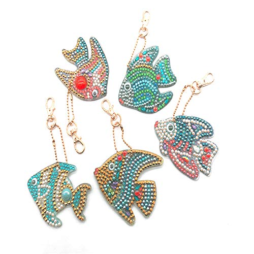 Cenda DIY 5D Diamond Painting Keychain,Full Drill Diamond Painting Pendant Mosaic Making Key-Chains Key Ring Phone Charm Bag Pendant Decor Accessory,Gold Fish