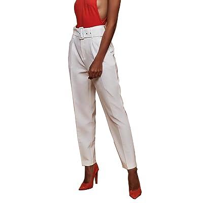 YACUN Pantalones De Vestir De Mujer Casual Slim Fit Pantalones De Cintura Alta Bolsillos Blanco XL: Ropa y accesorios