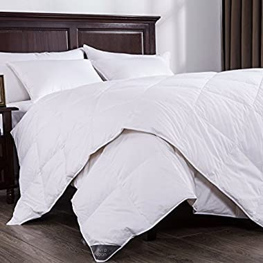 Puredown Lightweight White Down Comforter Light Warmth Duvet Insert 100% Cotton 550 Fill Power, King Size, White