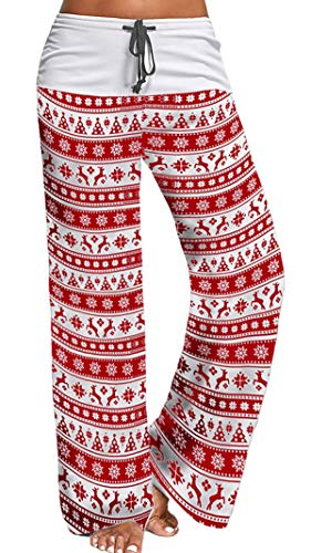 X-Image Women's Loose Yoga Long Pants Santaclaus Floral Printed Trousers Flowy Beach Christmas Pants Moose, X-Large (By Christmas Beach The)
