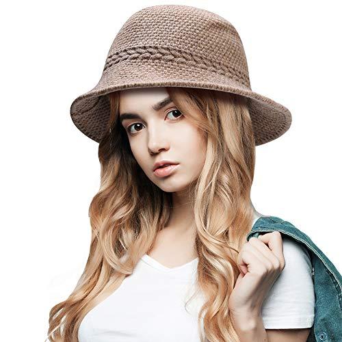 Cyiecw Winter Bucket Hat Women's Warm Knitted Hats Cloche Bucket Hat Knitted Wool Blend Foldable Hat