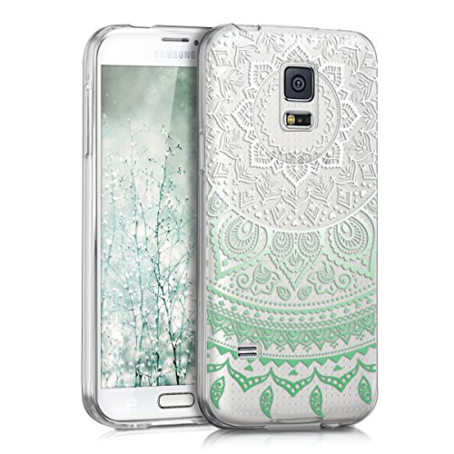 kwmobile Crystal TPU Silicone Case for Samsung Galaxy S5 Mini in Design Indian sun mint white transparent