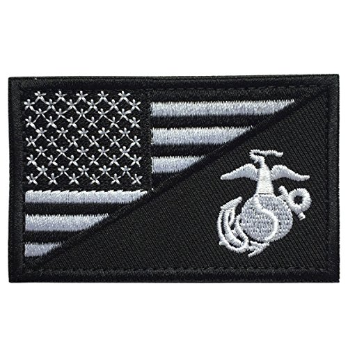 SpaceAuto USA American Flag w/ Marine Corps USMC Military Tactical Morale Badge Patch 3