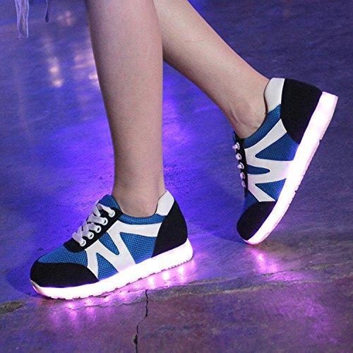 Azbro Mujer Zapatillas para Correr Encender LED Recargable Cordón-arriba Moda Negro