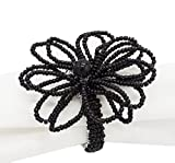 Fennco Styles Hand Beaded Flower Design Napkin Ring-Set of 4 (Black)
