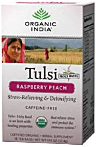 Original Tulsi Tea - Organic India Tulsi Tea Raspberry Peach, 18 Count (Pack of 2)
