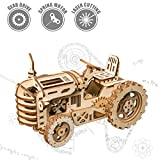 Robotime Mechanical Tractor 3d Wooden Puzzle Laser-cut for Self-Assembly Without Glue - Building Construction Model Kit - Brainteaser for Kids, Teens and Adults