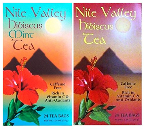Nile Valley Hibiscus Tea and Mint Hibiscus Tea (24 Tea Bags, 1.24 Oz. Ea.)