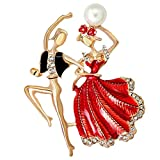Ballet Boys Girls Brooch Pin Enamel Companion Pins Simulated Pearl Dancer Prom Corsage Red for Women