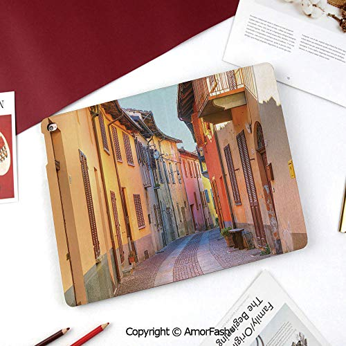 Italy Galaxy Tab A 8.0 2015 Model Case,SM-T350 Case,PU Leather Folio Stand Case,Narrow Paves Street Among Old Houses in Town Serralunga DAlba Piedmont Decorative