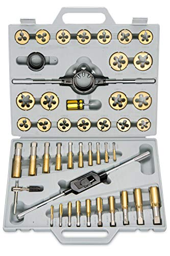 Neiko 00916A SAE Pro-Grade Large-Diameter Titanium Tap & Die Set (45 Piece) (Best Tap And Die Set)