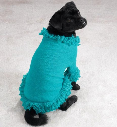 Dog Sweater Stretch Knit Pet Sweater with Fringe Mineral bluee Large