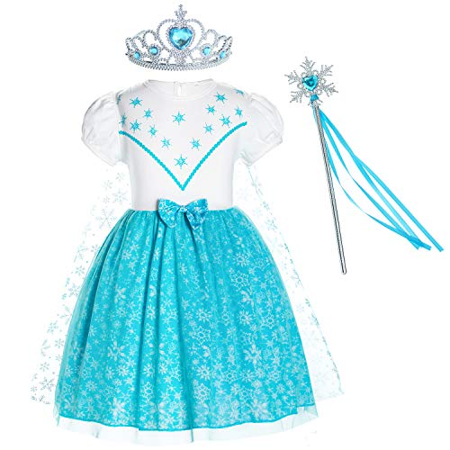 Princess Elsa Costume Birthday Party Dress for Toddler Girls 5-6 Years (5T 6T)]()