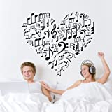 TGSIK DIY Love Heart Shape Wall Decals Stickers Music Note Home Decor Vinyl Removable Self-adhesive Clef Pattern Mural Art for Teen Girls Boys Kids Children Bedroom Living Room Family Decoration Black