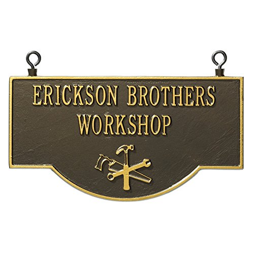 Personalized Workshop Sign (Personalized Workshop Sign - Custom Indoor/Outdoor Aluminum Tool Wall Sign)