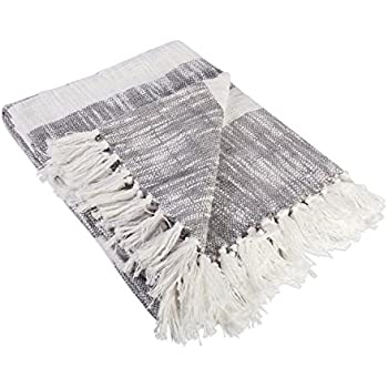 "DII Rustic Farmhouse Cotton Stripe Blanket Throw with Fringe For Chair, Couch, Picnic, Camping, Beach, & Everyday Use , 50 x 60"" - Distressed Gray"