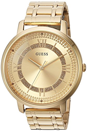 - GUESS Women's Quartz Watch with Stainless-Steel Strap, Gold, 18 (Model: U0933L2)