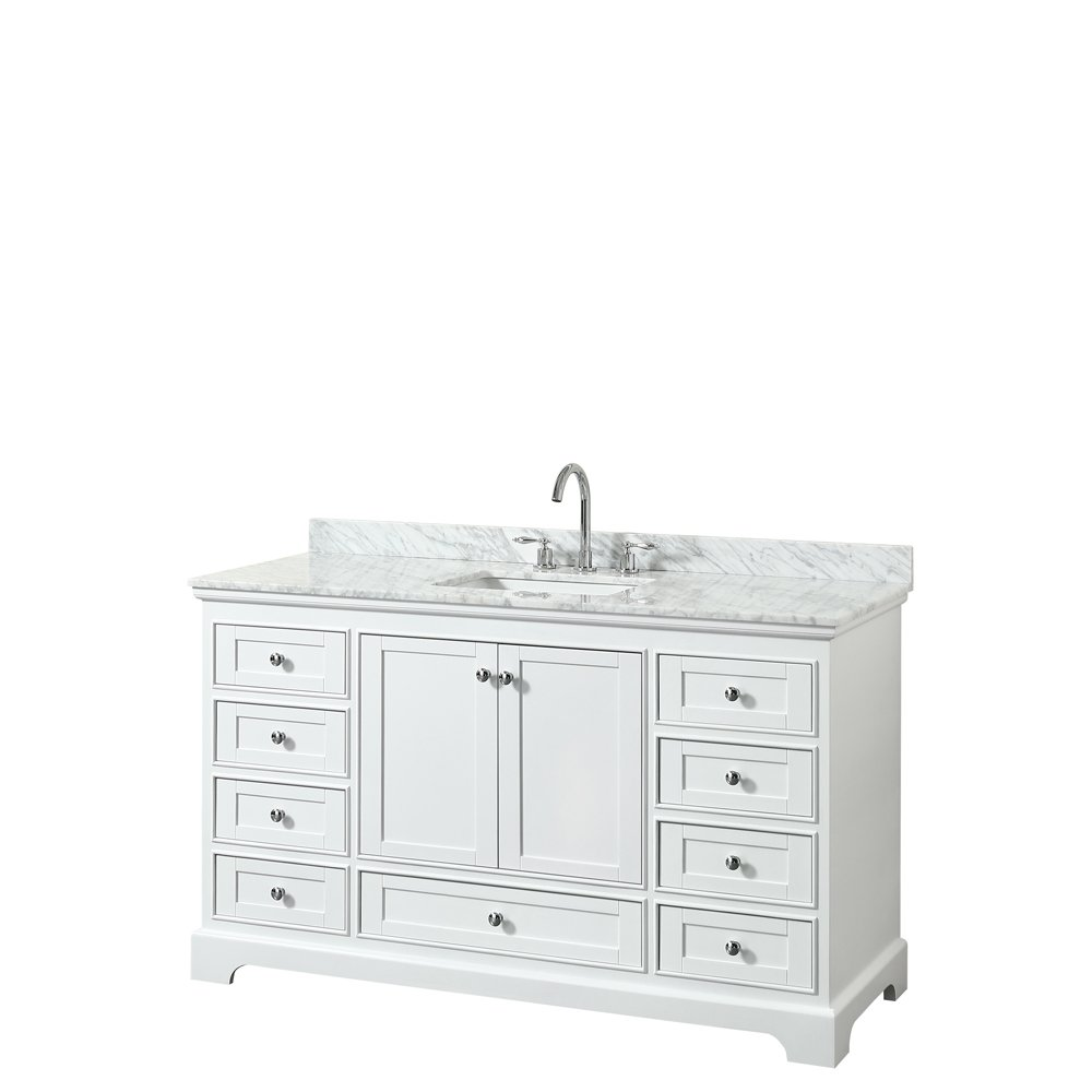 Wyndham Collection Deborah 60 inch Single Bathroom Vanity in White, White Carrara Marble Countertop, Undermount Square Sink, and No Mirror