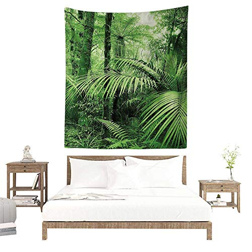 - Wall Tapestries Hippie,Rainforest Decorations,Palm Trees and Exotic Plants in Tropical Jungle Wild Nature Zen Theme Illustration,Green W57 x L74 inch Tapestry Wallpaper Home Decor