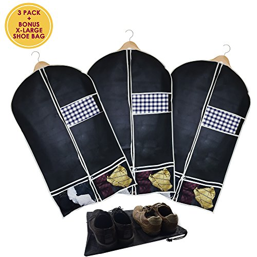Garment Bag Set of 3 With X-Large Shoe Bag - Suit Travel Bag Folding Hanging Breathable Fabric For Men and Women's Coat, Suit, Dress, Traveling Clothes Protector and Closet Storage, Black