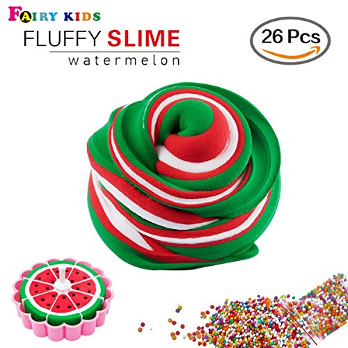 Fluffy Slime Supplies- 15 Once Watermelon Fluffy Slime Supplies Kit Soft Fruit Slime Non Sticky Stress Relief Present for Kids(26Pcs)