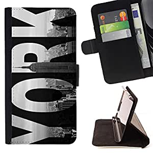 Super Marley Shop - Leather Foilo Wallet Cover Case with Magnetic Closure FOR Sony Xperia Z3 D6653- Keep calm and go to New York