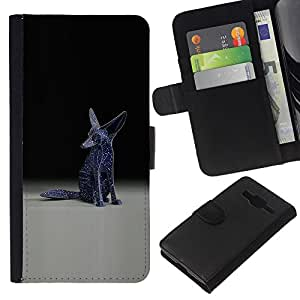 Stuss Case / Funda Carcasa PU de Cuero - Fennec Fox Estatua Arte Moderno Universo Blue Stars - Samsung Galaxy Core Prime