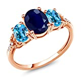 2.83 Ct Oval Blue Sapphire Swiss Blue Topaz 10K Rose Gold Diamond Accent Ring