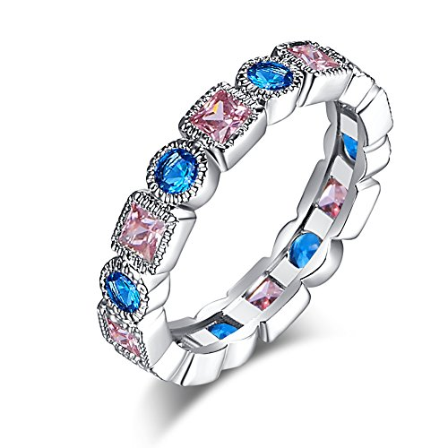 Psiroy 925 Sterling Silver Elegant Blue & Pink Topaz Stackable Eternity Filled Ring Band (Blue Topaz Ring Stackable)