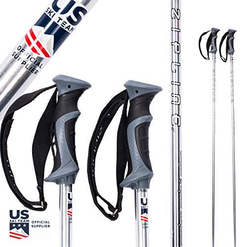 (Zipline Ski Poles Carbon Composite Graphite Blurr 16.0 U.S.- U.S. Ski Team Official Supplier (Downhill/Mens/Womens/Kids/Junior/Freestyle/Racing) (Silver Chrome, 48