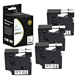 Catch Supplies 4 Pack Replacement Dymo D1 40910 Black on Clear 3/8 Inch (9mm) Label Tape - Length 23ft (7m) - For use with the Dymo LabelManager, LabelPoint and LabelWriter Label Printers