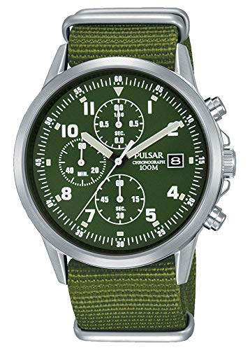 Pulsar PM3127X1 - Reloj cronógrafo para Hombre, Estilo Militar, Formalmente y Mejorado PJN301X1