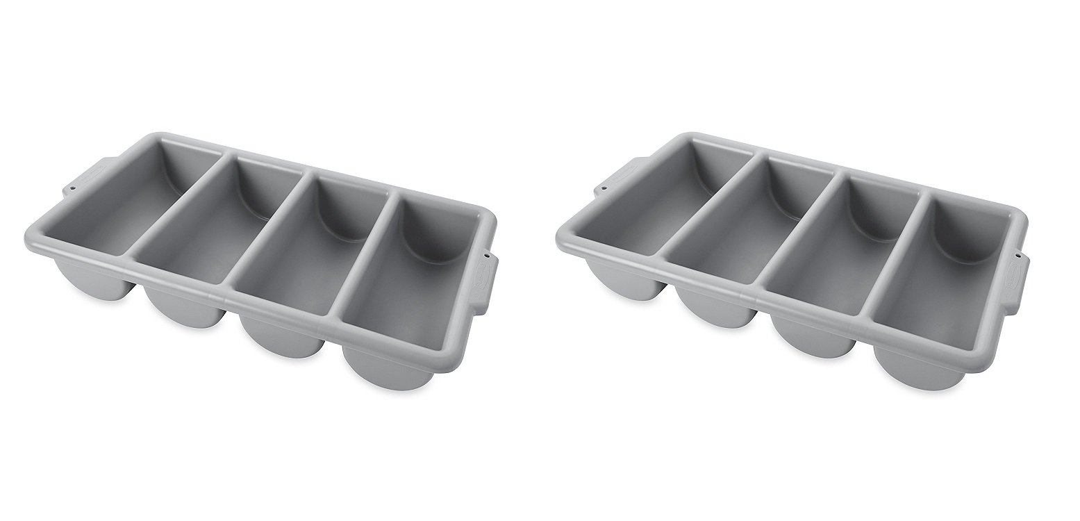 Rubbermaid Commercial FG336200GRAY 4-Compartment Cutlery Bin, Gray (2 PACK)