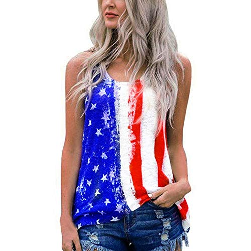 Shirt Dragon Silk (DRAGON VINES Womens American Flag Tank Top 4th July Tanks USA Flag Stripe Printed Stars Vests Tops Shirts Blouse XL White)