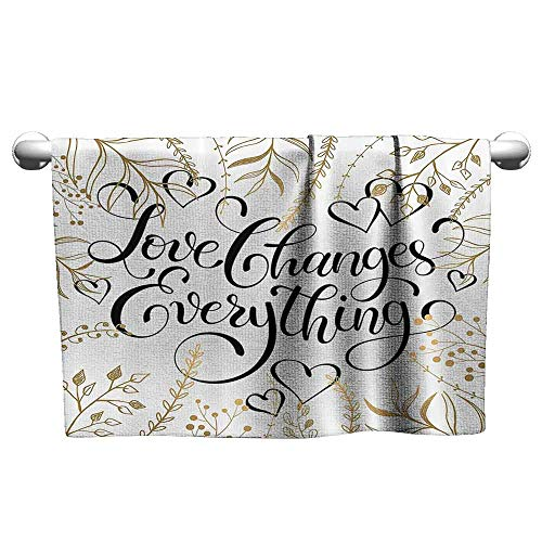 DUCKIL Fancy Hand Towels Romantic Golden Foliage Pattern Frame Style with Heart Shapes and Inspirational Quote Cloth Interesting Bath Sheet 39 x 20 inch Gold White Black
