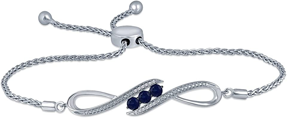 La Joya 0.05 ct Round White Diamond Created Blue Sapphire 925 Sterling Silver Adjustable Love Infinity Strand Bolo Bracelet for Teens Women