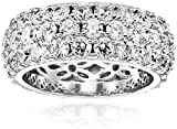 Swarovski Zirconia 3 Row Pave Round Cut Ring