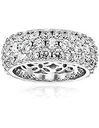 Platinum Plated Sterling Silver Swarovski Zirconia 3 Row Pave Round Cut Ring, Size 6