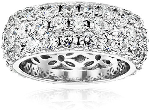 Ring Diamond Simulant Eternity - Platinum-Plated Sterling Silver 3 Row Pave Ring set with Round Swarovski Zirconia (3.45 cttw), Size 6