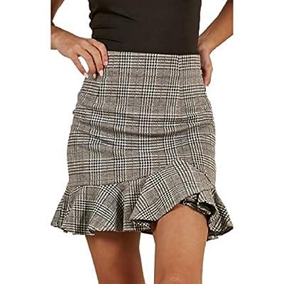 SportsX Women Asymmetrical Hem High-Waisted Plaid Fishtail Ruffle Pencil Skirt