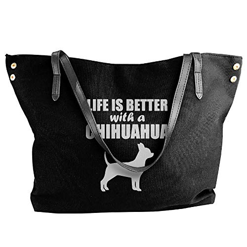 323bba801db7 Women s Canvas Large Tote Shoulder Handbag Life Is Better With A Chihuahua Handbags  Black