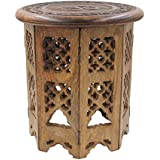 DharmaObjects Solid Mango Wood Hand Carved Prayer Puja Shrine Altar Meditation Table Round (OM)