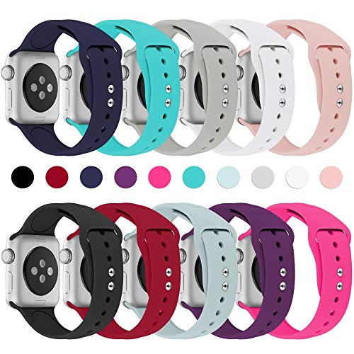 Haveda Bands Compatible with Apple Watch Band 38mm 40mm, Soft Silicone Sport Strap Wristband for Women Men with iWatch Series 4, Series 3, Series 2, Series 1, 10PACK, 38/40S/M
