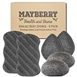 Konjac Body Sponge (6 Pack) Individually Wrapped Multi-Pack Bamboo Charcoal (Black) Konjac Sponges Offer a Gentle Cleansing Experience for Softer Skin