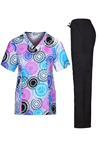 MedPro Women's Medical Scrub Set with V Neck Top and Cargo Pants Royal Blue Black XL by MedPro